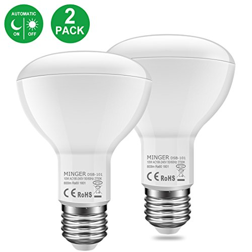 MINGER 10W Dusk to Dawn BR30 LED Bulb Light, Auto Turn On Off, 60W Equivalent, 800 Lumens Soft White 2700K, E27 Base, 120°Beam Angle Spotlight, for Indoor and Outdoor 2 Pack by MINGER