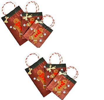 Amazon.com: (6) Festive CHRISTMAS Holiday Gingerbread Man Gift Bags ...