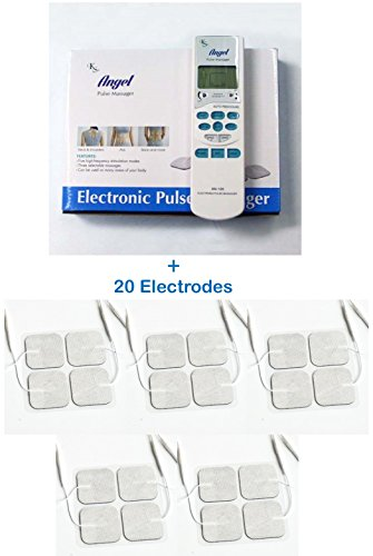 Tens Unit Electronic Pulse Massager + 20 electrodes Bundle Pack - Pain Management (Acute Lower Back Pain Treatment At Home)