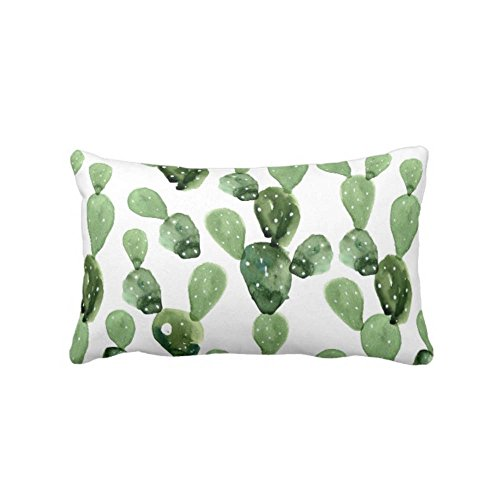 Watercolor Cactus Throw Pillow Case Cover Cover Green White 14 x 20 Lumbar OUTDOOR or INDOOR Pillow Case Covers Succulent Southwest Succulents Olive Sage
