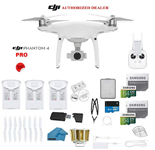 DJI Phantom 4 PRO Quadcopter Drone with 1-inch 20MP 4K Camera KIT + 3 Total DJI Batteries + 2 64GB...