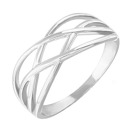 High Polish 14k White Gold Celtic Knot Ring for Women