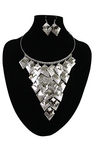 Miley Cyrus Costume Online (TFJ Women Dressy Fashion Silver Metal Fancy Necklace Jewelry Silver Charms Pendant Earrings Set)
