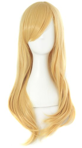 "MapofBeauty 24""/60cm Side Bangs Stylish Long Great Wavy Curly Cosplay Party Wig (Orange Yellow)"