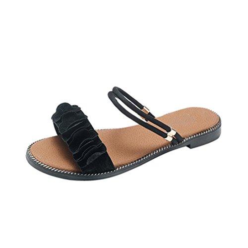 Femme Arena Chaussures Pantoufles Noir Sandales Sandales Orteil Beautyjourney Femmes Fleur Plage Plat Solide Plage Sandales SoiréE de Ronde Tongs ZExqY