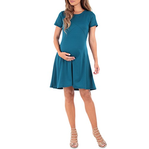 Women's Ponte Skater Maternity Dress by Mother Bee - Made in USA Teal