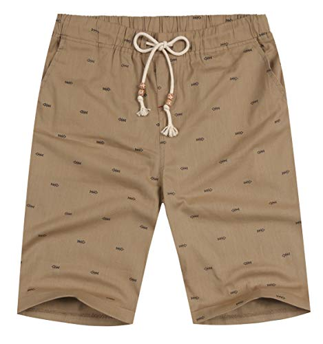 NITAGUT Men's Linen Casual Classic Fit Short (2XL(US 45-47), Dark Khaki Fish)