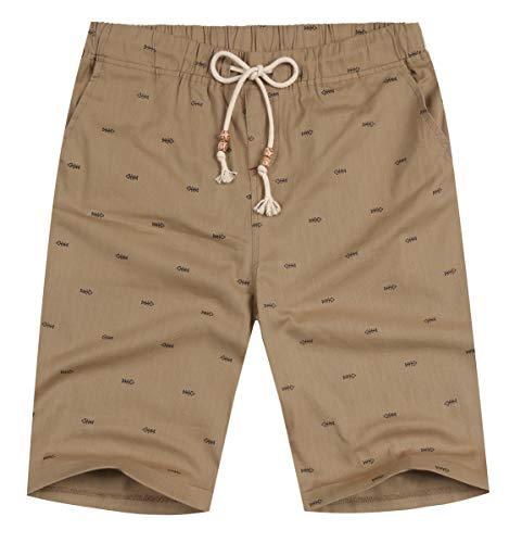 NITAGUT Men's Linen Casual Classic Fit Short (S (US 32-34), Dark Khaki Fish) ()