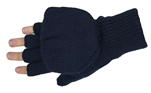Adult Fingerless Knit Mitten Gloves, Glove-Mitt with Mitten Cover, Thermal Insulated (Navy)