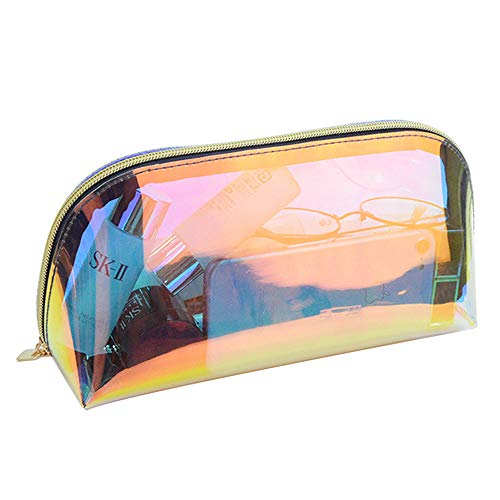 - Holographic Iridescent Makeup Bag, Hologram Cosmetic Bags Toiletries Pouch Handy Makeup Pouch, Wristlets Organizer Women Clutch Evening Bag, Shell Shape