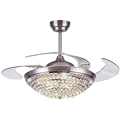 Siminda Modern Crystal Remote Control Metal Ceiling Fan Lamp 42-inch Lighting Fan Chandelier Led Lights Fixture