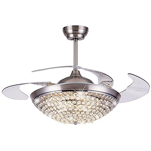 Blade Fan Classic Ceiling (HAIXIANG Modern Crystal Remote Control Metal Ceiling Fan Lamp 42-inch Lighting Fan Chandelier Led Lights Fixture)
