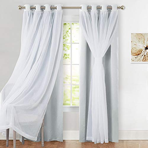 PONY DANCE Window Curtain Panels with Sheer - Room Darkening Curtains & Draperies Panels for Living Room/Dining Room, 52 W by 84 L, Greyish White, Double Pieces (Panels Room Curtain Dining)