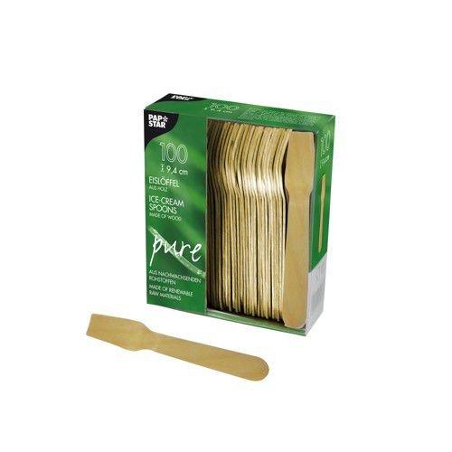 "10 x 100 Eislöffel, Holz 'pure' 9,4 cm Holz ""pure"" 9 Papstar"