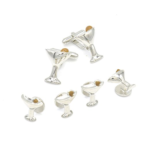 JJ Weston Martini Glass and Olive Tuxedo Cufflinks and Shirt Studs. Made in the USA. by JJ Weston