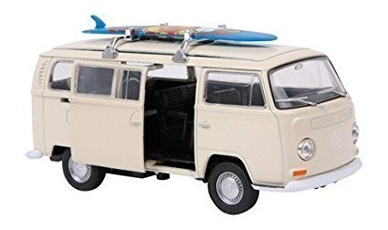 Modelo de Caravana VW Blanca a Escala 1972 Autobú s Jueguete Hippy con Caja Small Foot Company 9324