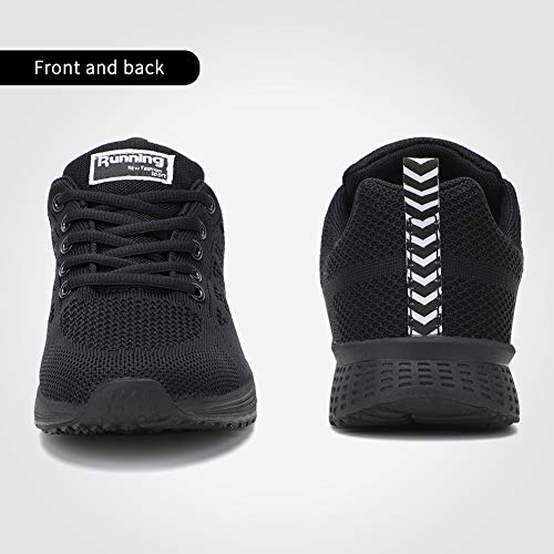 Women's Athletic Sneakers Tennis Shoes Lightweight Knit Woman Gym Workout Walking Running Shoes Black 5.5