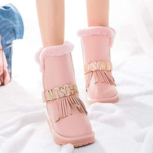 Chaussures D'hiver Taille Chaudes Rembourrées Rose coloré Rose Oudan 28 Fourrure Fausse Bottes Rivets En qB8xwPtn