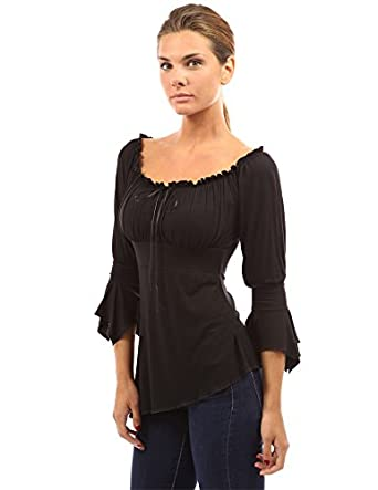 Steampunk Costumes, Outfits for Women 3/4 Sleeve High-Low Hem Top $32.99 AT vintagedancer.com