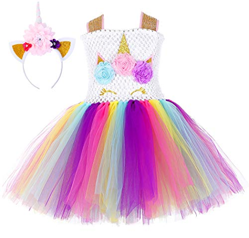 Tutu Dreams Birthday Costumes for Girls Unicorn Flower Dress Show Acting Playing Dress-Up (Rainbow-Sequin Belt, Medium)]()