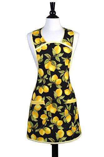 Grandmas Old Fashioned - Plus Size Vintage Grandma Apron Styling in Modern Lemon Yellow Fruit Print on Black
