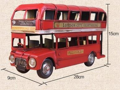YYY-Autobuses de dos pisos rojo vintage hechos a mano de Londres, coches de