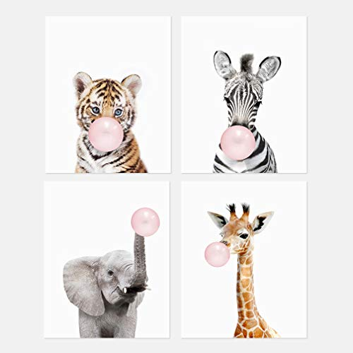 The Art Studio by Amy Peterson Safari Bubble Gum Animals 8x10 Prints - Set of 4 Prints - Adorable Furry Baby Animal Portrait - Tiger Cub, Zebra, Elephant, Giraffe - Nursery Decor Unframed Prints
