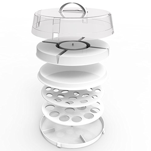 4-in-1 Cake Server,Collapsible Food Carrier by DOTERNITY -Easy to Carry,Traveling - Space Saving - Party Platter Carrier for Cupcakes, Cakes, Cookies, Deviled Eggs, Dip Displays & More (white)
