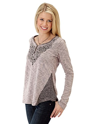 C P Heather Jersey Henley Five Star- Retro Pop (s) (Roper Retro Shirt)
