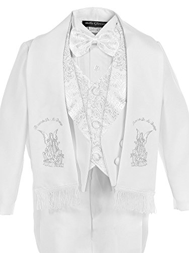 Bello Giovane Baby Boys White Christening Paisley Lapel Tuxedo with Angel Scarf (Medium (6-12 Months), White)