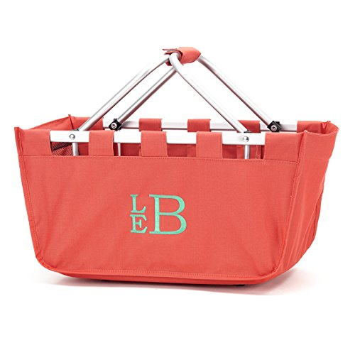 Personalized Solid Reusable Shopping Market Tote Basket Craft Sewing Organizer, Coral