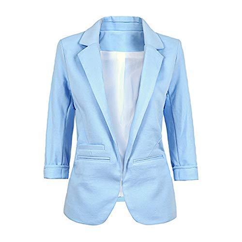 Chaquetas de Azul Oficina Negocios Business Cazadora Abrigo Solapa de Primavera Moda Blazers y de Tops Outerwear Slim Ropa Traje Jacket Otoño Claro 3 Coat JackenLOVE Casual Manga 4 Mujeres q4aIwWTwZp