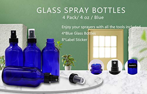 Glass Spray Bottles,4oz Spray Bottle Refillable Containers for Essential Oils, Homemade Cleaners and Aromatherapy, Including DIY Labels (4PCS)