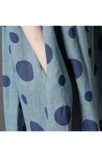 Babydoll Oversize Polka Femmes Coton Vintage Dot Zilcremo Blue Swing Robe xwcnZAqqW