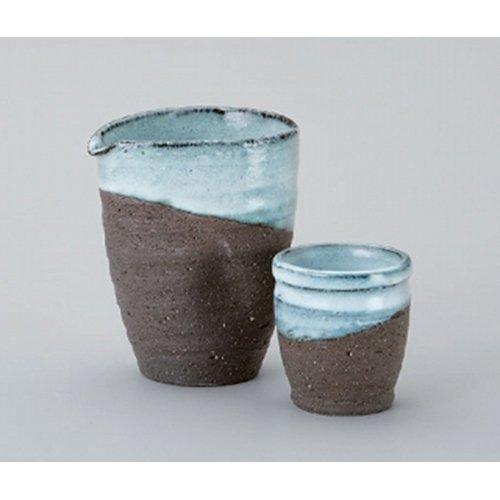 Sake-related Goods Set utw314-36--37-514 [sake bottle 3.8 x 3.2 x 4.5 inch 23floz sake cup 2.4 x 2.6 inch 3floz] Japanece ceramic Hitoshikama cold sake device + cup set tableware SETOMONOHONPO