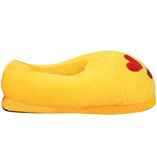 Plüsch Unisex Kinder Schuhe Gelb Männer Slipper Frauen Winter Durst Herz Größe Zu Gefüllte Mode Hause Emoji qtX04