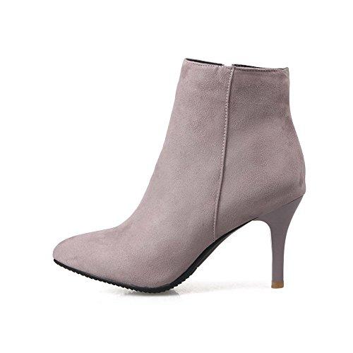Materials Boots Blend Solid Heels High Zipper Pointed Pink AgooLar Toe Women's qw1Oaxqt6