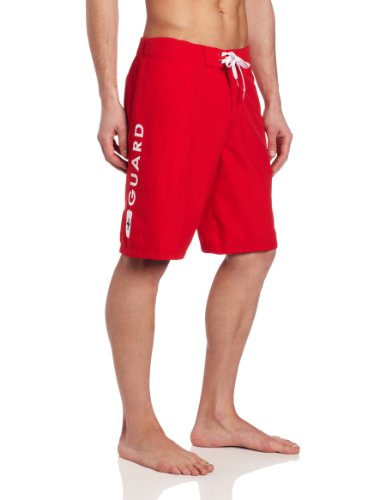 Speedo Men's Guard Flex Waist 20 Inch Board Shorts, Red, Medium