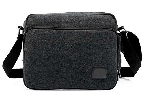 Men's Vintage Canvas Leather Satchel School Military Shoulder Messenger Bag (Black)