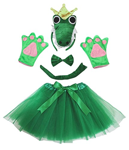 Petitebella Crocodile King Green Headband Bowtie Glove Skirt Lady 5pc Costume (One Size)