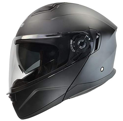 Motorcycle Snowmobile Helmet - Vega Helmets Unisex-Adult Caldera Modular Motorcycle & Snowmobile Helmet 30% Larger Shield and Sunshield Matte Black, Large