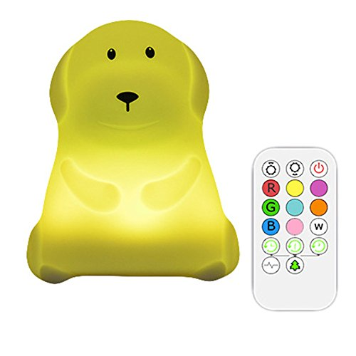 Xmeilo Cute Animal Rechargeable Silicone Baby LED Nursery Night Lights Lamp with Touch Sensor, Remote Control and Timer Dog by Xmeilo