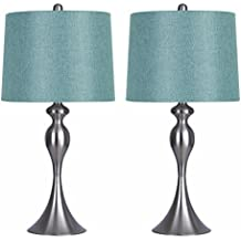 "Grandview Gallery Table Lamps with Turquoise Shade, Set of 2 – Linen and Brushed Nickel 26.5"" Table Lamps for Bedside, Dressers and Much More – ST90215HT-(W)"