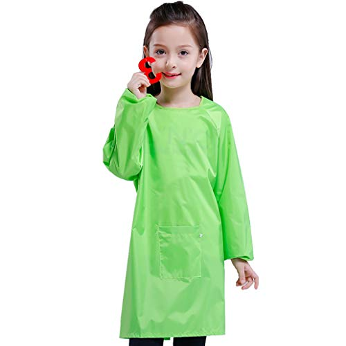 - Long Sleeves Kids Art Smock Waterproof Long Section Painting Apron with Pocket for Toddler Preschool Children (XXXL, Green)