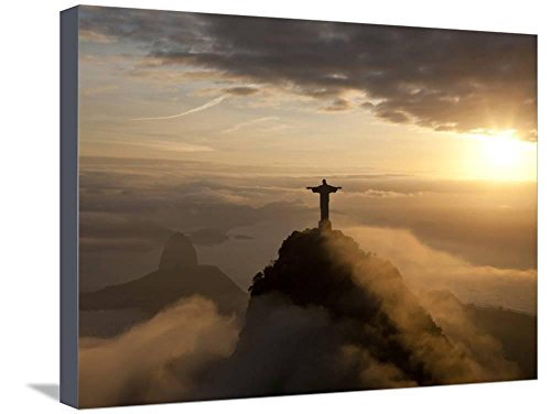 Art, Inc. Statue of Jesus, known as Cristo Redentor (Christ the Redeemer), on Corcovado Mountain in Rio De Janeiro, Brazil by Peter Adams, Stretched Canvas Print, 24x18 in (Statue Redeemer Rio Christ)