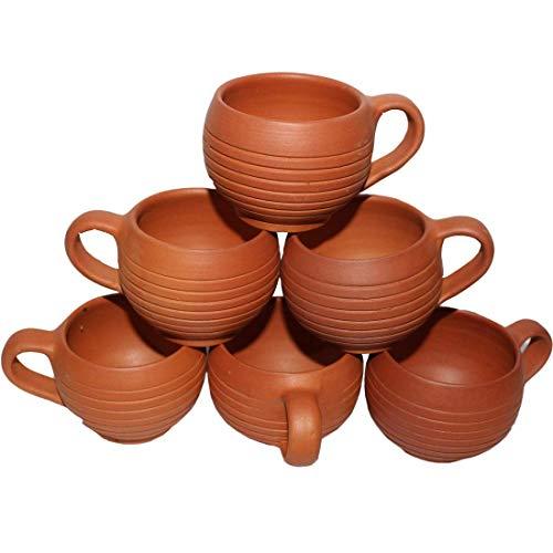 Creativegifts Handmade Earthenware/Clay Tea cup set of 6