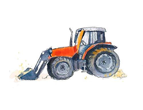 Art Giclee Matte (Orange Farm Tractor Wall Art Print for Kids Room | Farmhouse Decor | 8.5 x 11 Inch Gallery Quality Fine Art Giclée Print)