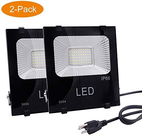 LED Outdoor Flood Light 50W 250W Equivalent ,4500lm 6000K Daylight White Bright Security Work Lights,IP66 Waterproof,Yard,Garage,Garden,Playground,Basketball Court,4ft Cord,US-3 Plug,Yoke Mount,2 pack