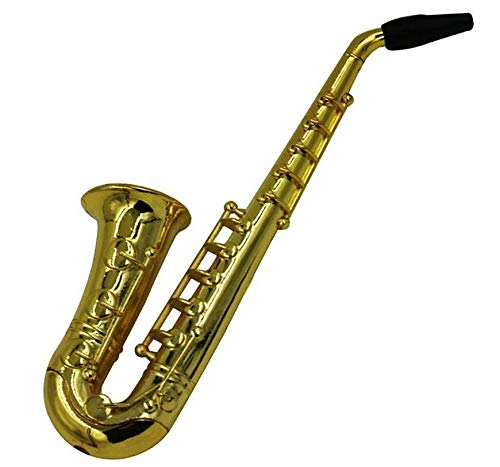 Docbrother - Mini Saxophone Pipe Novelty Gifts Alloy Material with Mesh Filters - Pipe Mini & Portable Jamaican Style Saxophone Pipes for Collection Gift for Father & Husband & Art Collector
