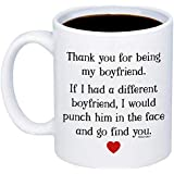 MyCozyCups Gifts For Boyfriend - Thank You For Being My BF Coffee Mug - Funny Cute Unique 11oz Cup For Couples, Partner, Him, Men - Valentine's Day, Birthday, Anniversary, Christmas Joke Gag Gift